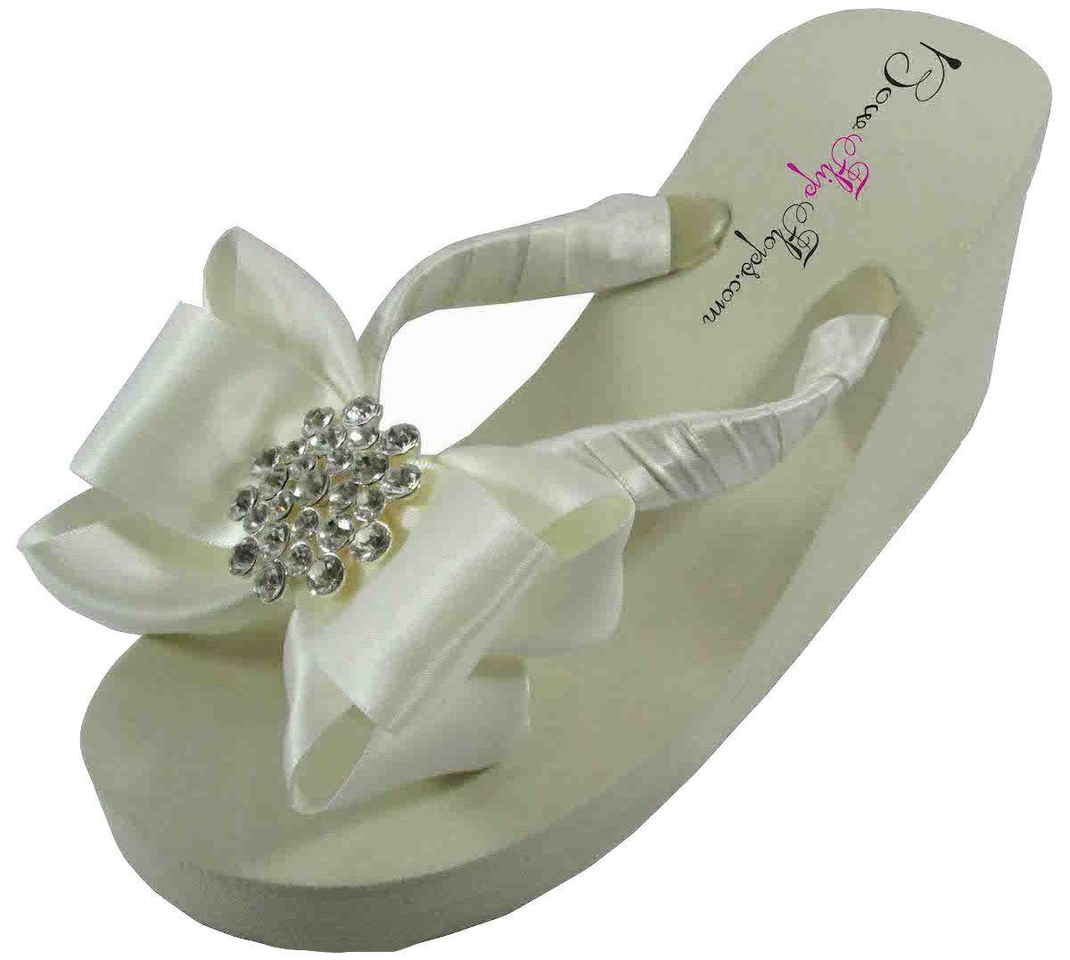 887f86df7 Amazon.com  Bridal Flip Flops Ivory White Wedge Womens Wedding Platform  Rhinestone Satin Bow Flip Flops  Shoes