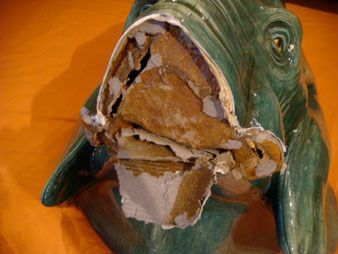Jeff Meyer Art :: Sculpture Repair Studio :: Bustamante Paper Mache Elephant Head