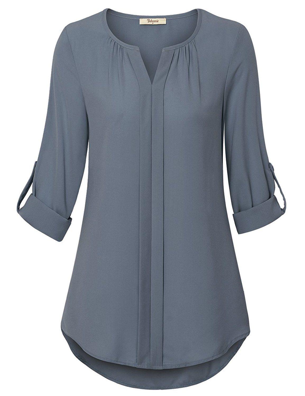 64c9308ad0436f Bebonnie Women s Casual Chiffon Blouse Ladies Cuffed Sleeve Office Tunic  Tops  aff