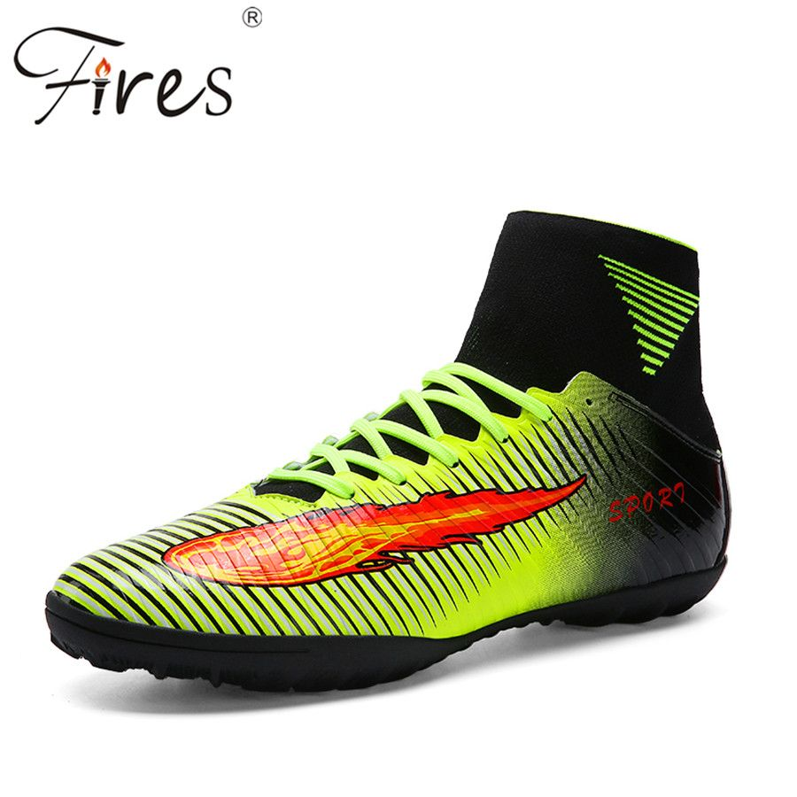 f4e26e72231 Fires Top Quality Plus Size 35-45 Football Boots Men Summer Soccer Shoes  Cleats Outdoor Trainer High Ankle Football Shoes