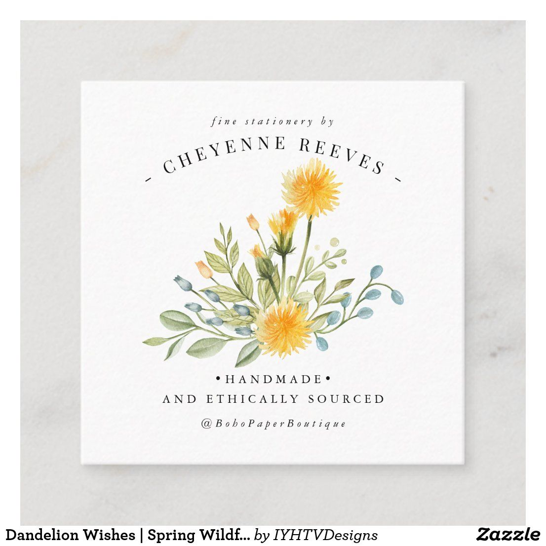 Dandelion Wishes Spring Wildflower Square Business Card Zazzle Com Spring Wildflowers Painted Business Cards Square Business Card