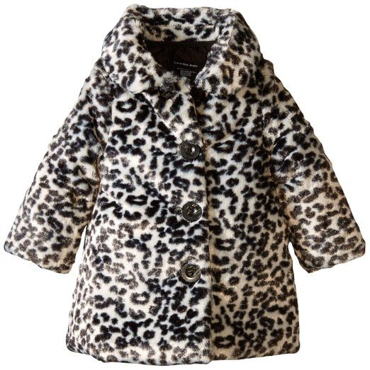 Calvin Klein Baby Girls Animal Print Faux Fur Jacket Multi 12
