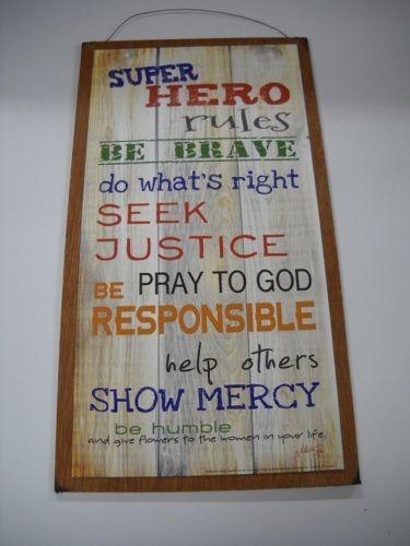 NEW Super Hero Rules Boys Bedroom Wooden Wall Art Sign Superman ...