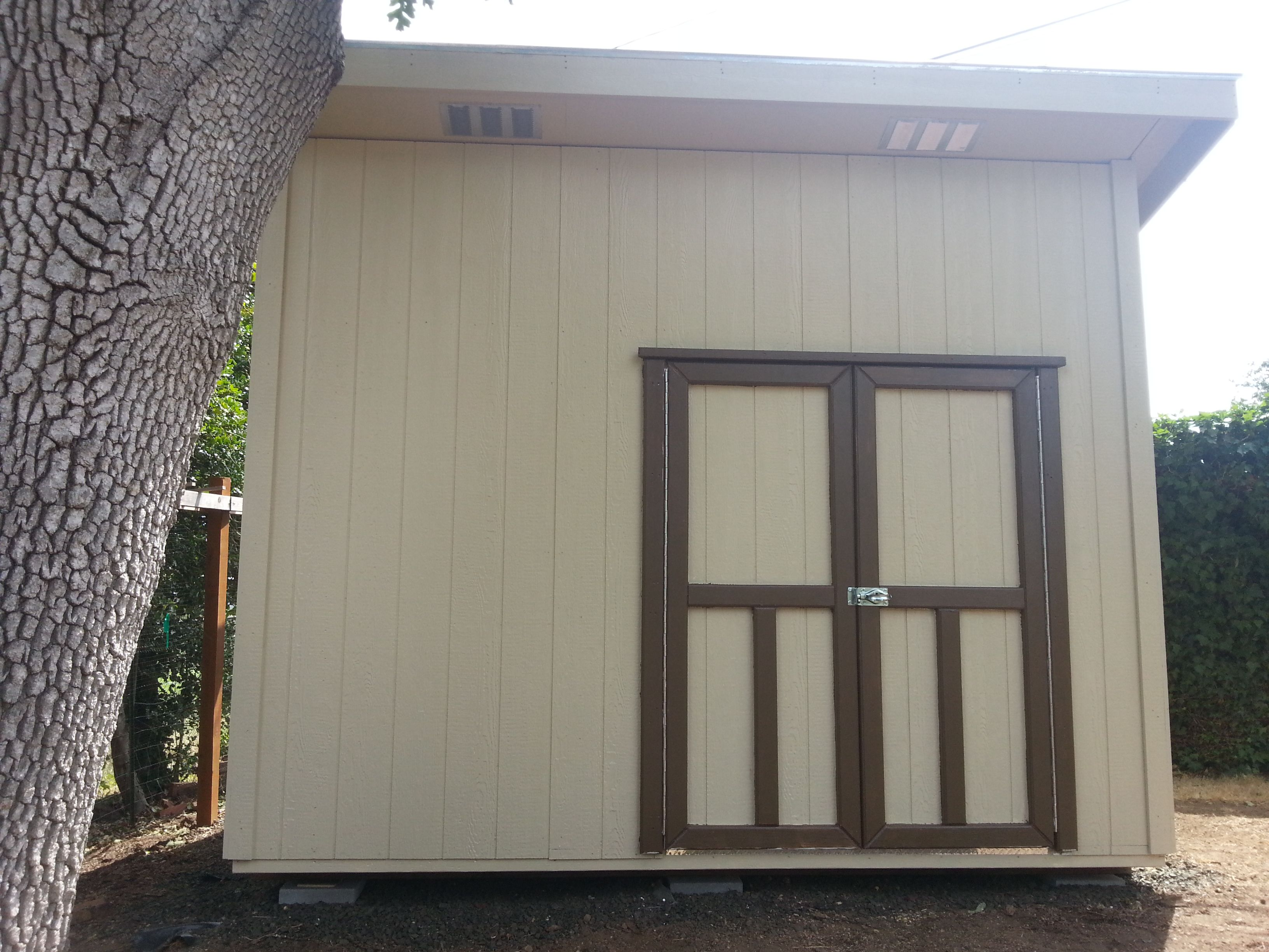 Slant Roof Style With One Pair Of Rectangular Soffit Vents. Storage, Garden  Shed,