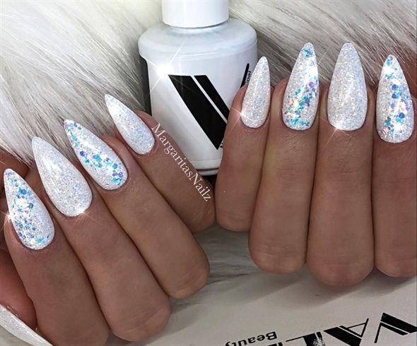 White Glitter Nails By Margaritasnailz White Glitter Nails Stiletto Nails Glitter Glitter Gel Nails