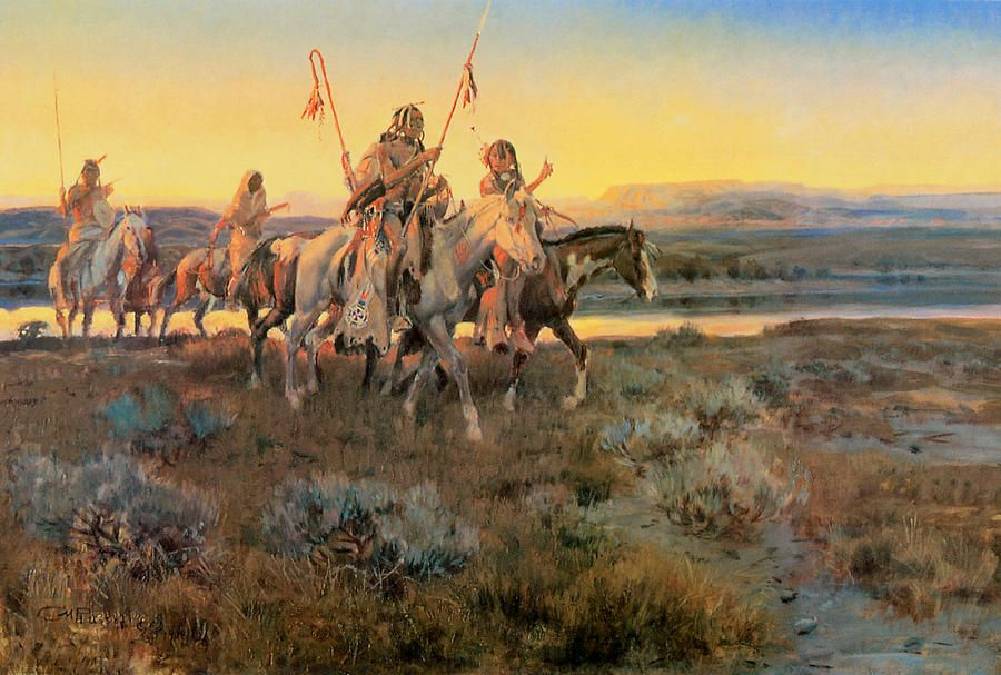 Piegans By Charles M Russell Native American Paintings