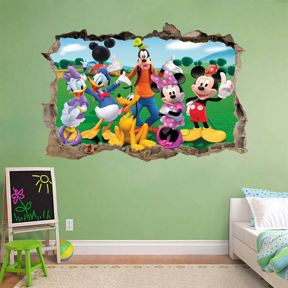 Mickey Minnie Mouse 3d Smashed Hole Wall Sticker Decal Mural Disney Goofy H795 Ebay In 2020 Wall Sticker Diy Home Decor Decor