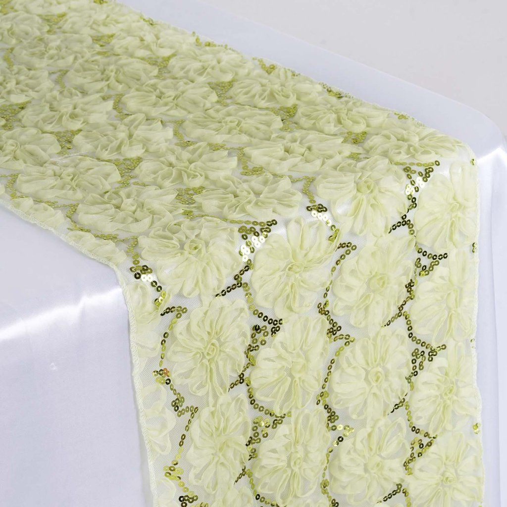 12 X108 Tea Green Sequin Studded Floral Tulle Table Runner Tulle Table Runner Tulle Table Table Runners Wedding