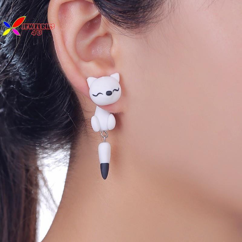 2ad6a227122e 16 diseños animal pendientes 2015 moda caliente lindo hermoso hechos a mano  la arcilla del polímero cat aretes perno prisionero del oído para mujeres  ...