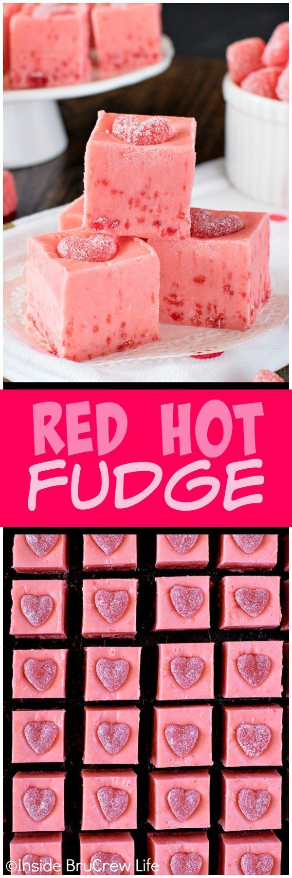 Red Hot Fudge - crushed cinnamon candies add a fun spicy flair to this creamy fudge! Great recipe for Valentine's day!