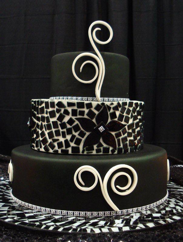 black and white mosaic cake Cakes Pinterest Beach wedding
