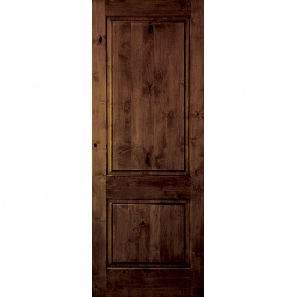 Krosswood Doors 28 In X 80 In 2 Panel Square Top Solid Wood Core Rustic Knotty Alder Right Hand Single Prehung Interior Door Kw 305 2468 Rh Prehung Interior Doors Interior Doors For Sale Interior Barn Doors