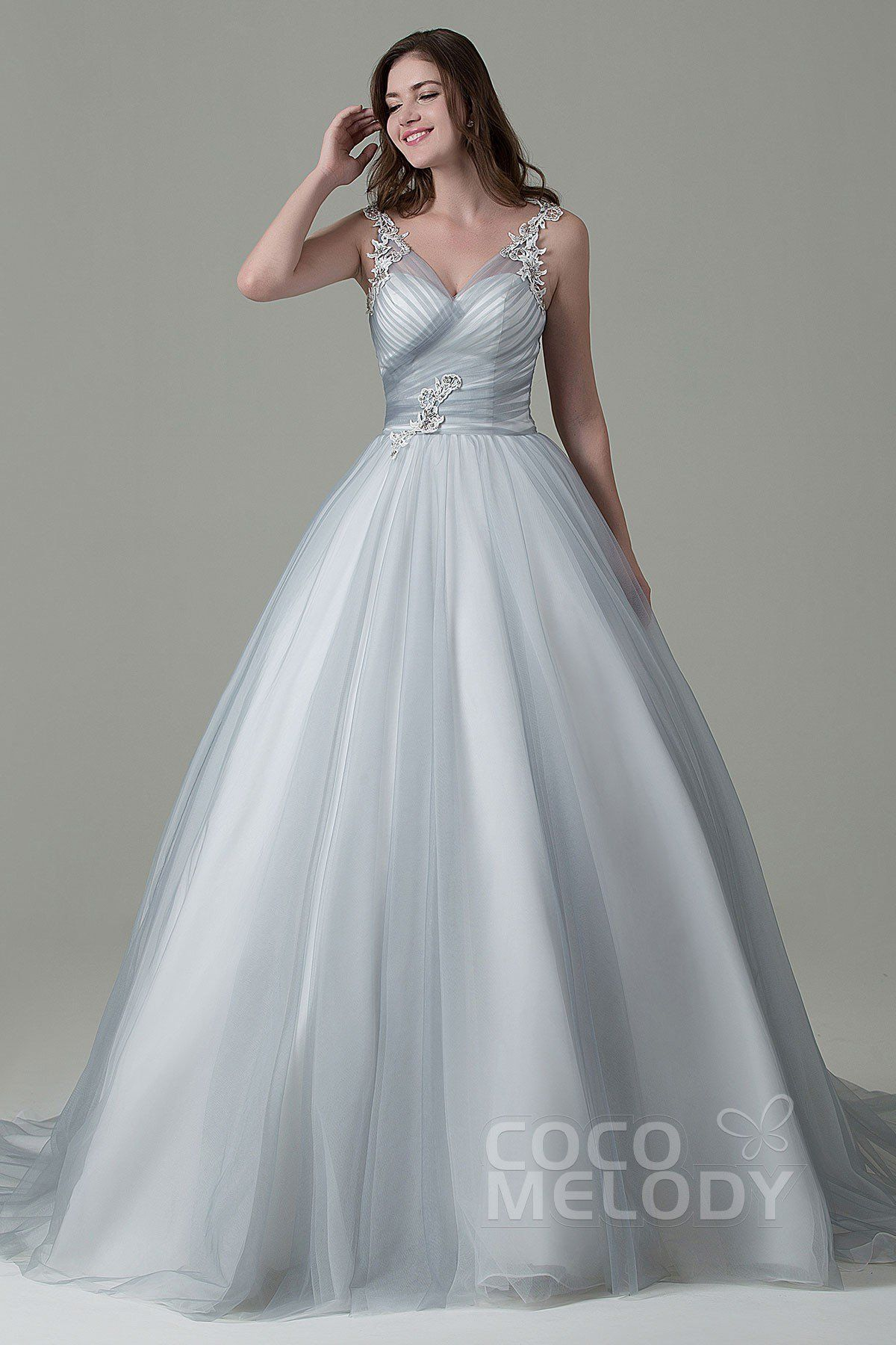 Perfect A-Line V-Neck Natural Court Train Tulle Silver Cloud/Ivory ...