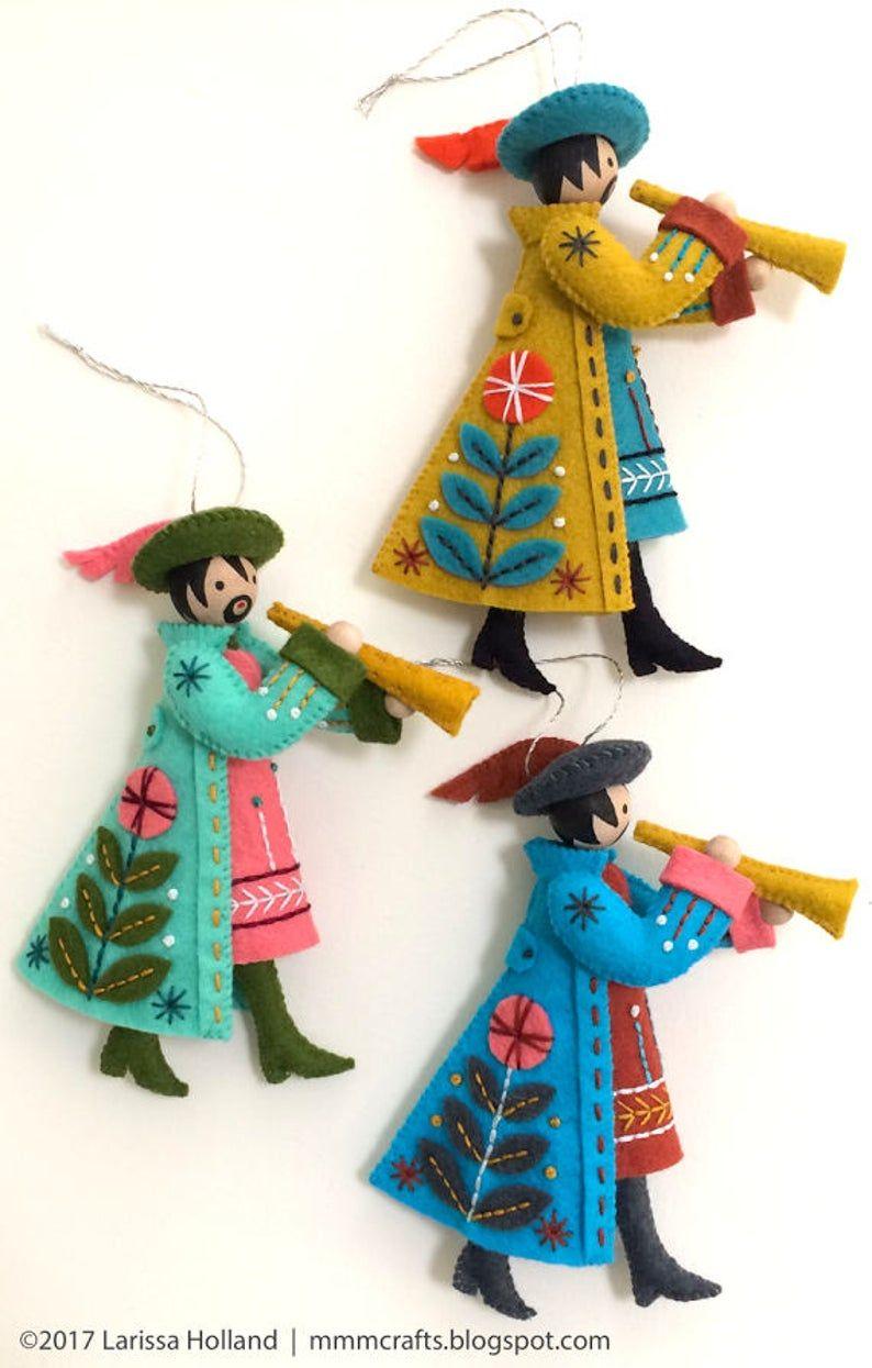 Mmmcrafts Wool Felt Benzie Guest Curator Twelve Days Of Christmas Partridge Pear Turtle D Felt Christmas Ornaments Felt Christmas Felt Ornaments