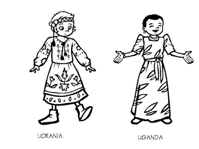 Uganda Costumes And Ukraine Coloring Pages