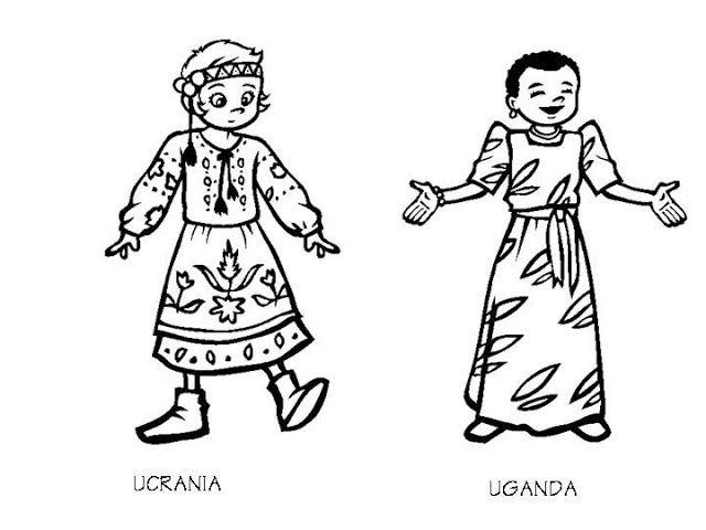 Uganda Costumes And Ukraine Costumes Coloring Pages Coloring Pages Color Costumes