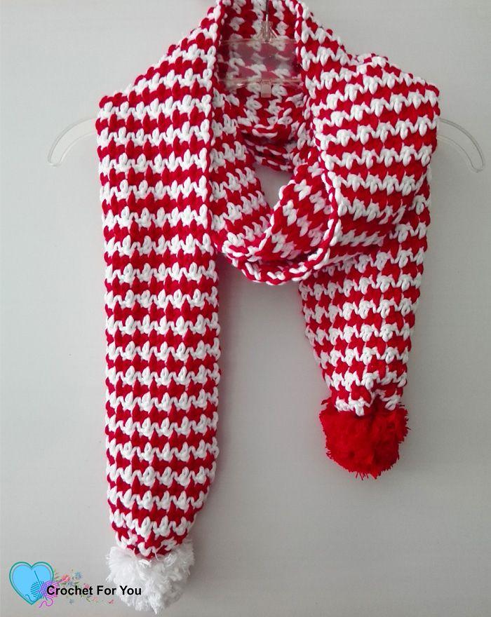 Peppermint Houndstooth Scarf pattern by Erangi Udeshika | Ganchillo