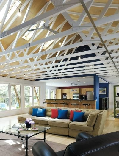 Room In Attic Truss Design: Exposed Trusses In A Ranch Style Home