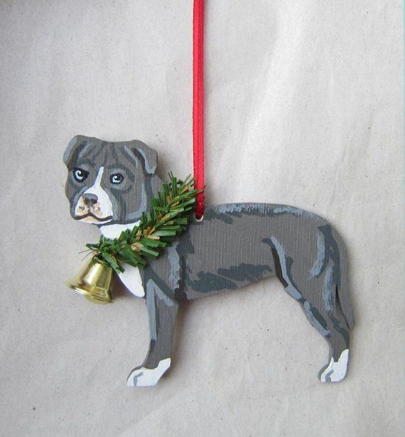 Pitbull Christmas Ornament.Hand Painted Pitbull Terrier Blue White Wood Christmas
