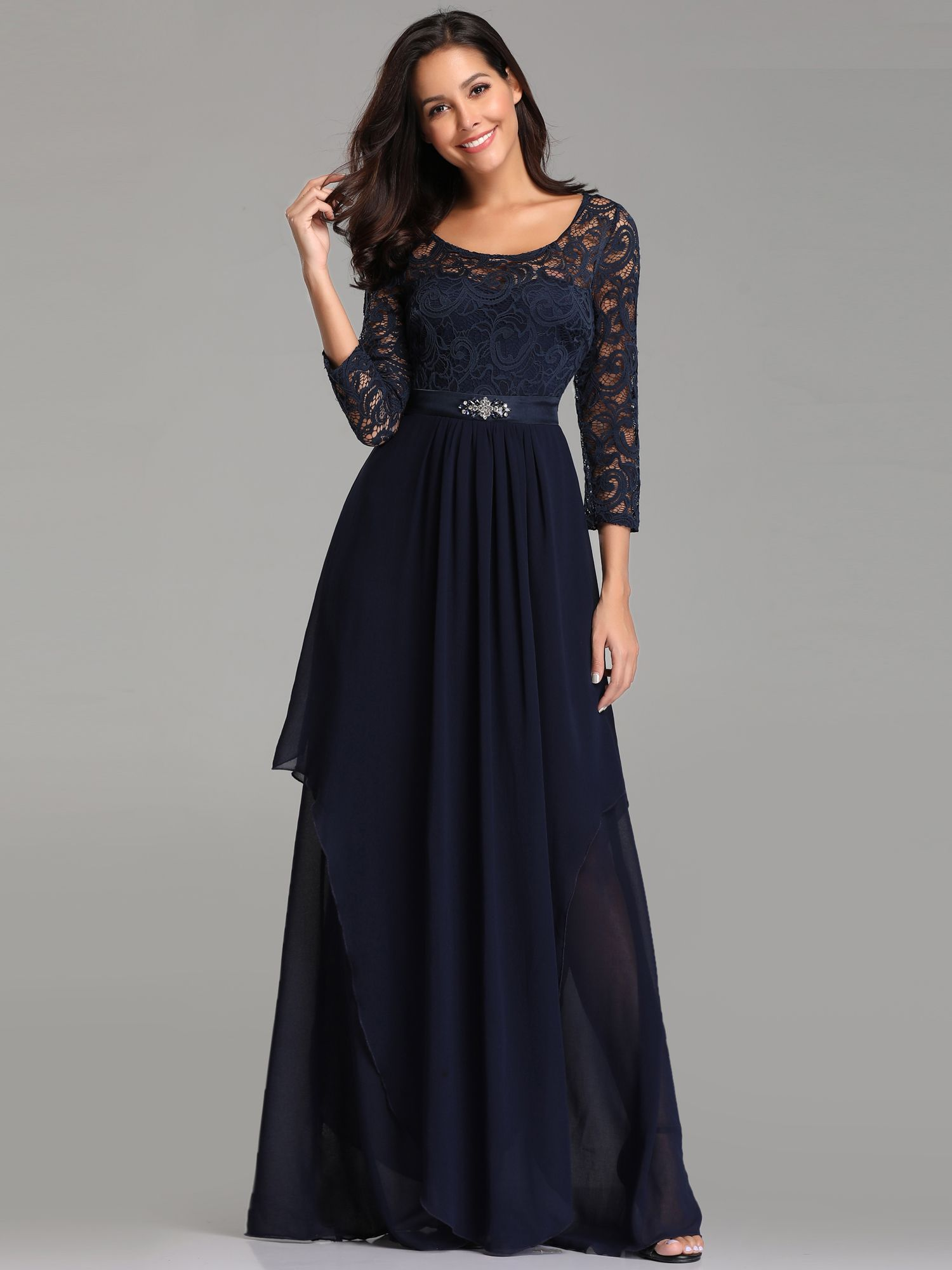 6f65ec634a Ever-Pretty Plus Size Long Sleeve Evening Dress Navy Blue Bridesmaid Gown  07716 Sleeve Evening Long