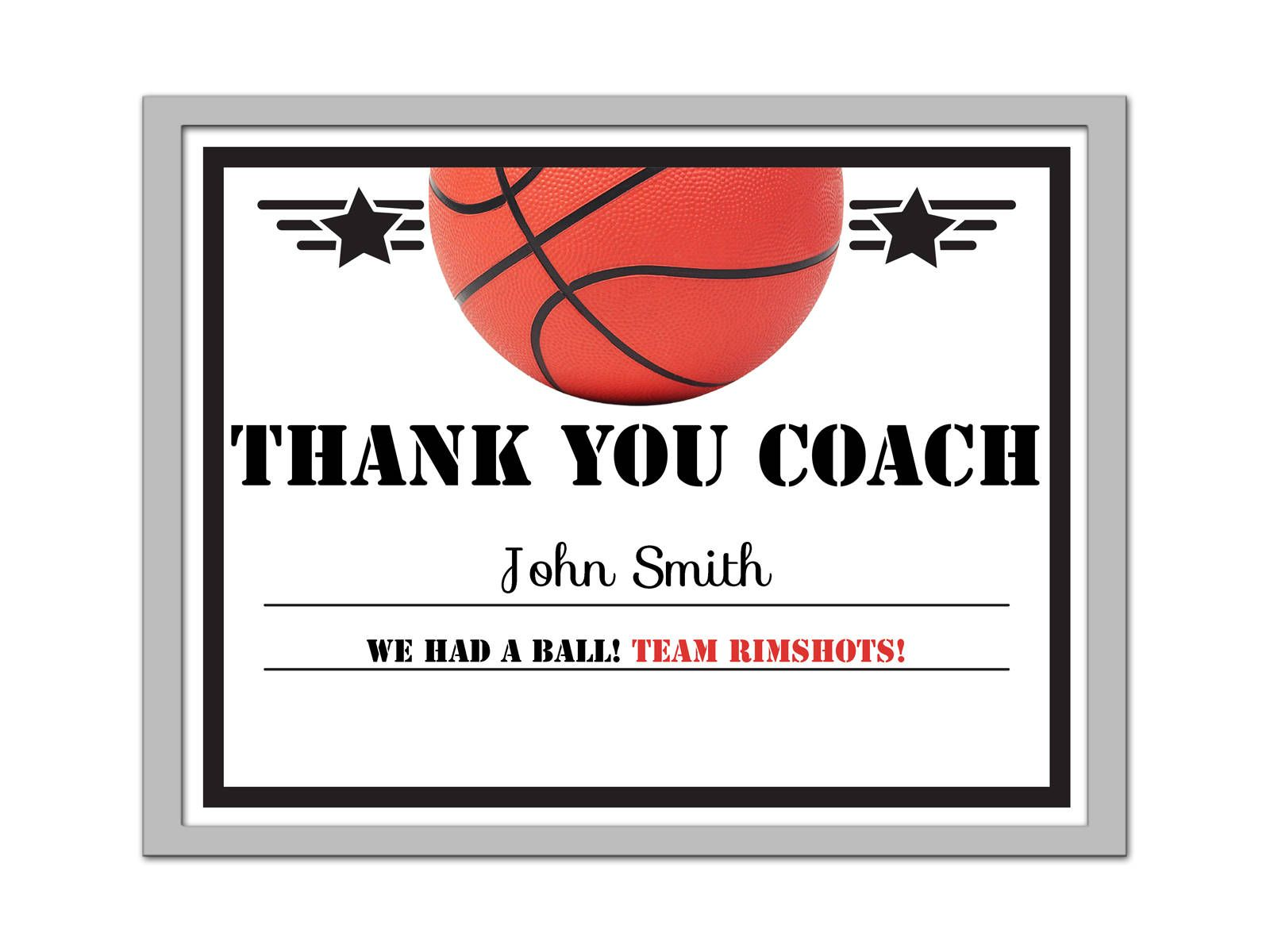 Editable Pdf Sports Team Game Basketball Thank You Coach