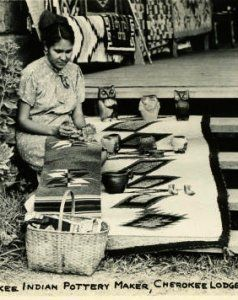 Ethel Bigmeat around 1940. Daughter of Charlotte Bigmeat the Cherokee woman who made quality pottery. The Bigmeat family still makes some of the best pottery today.