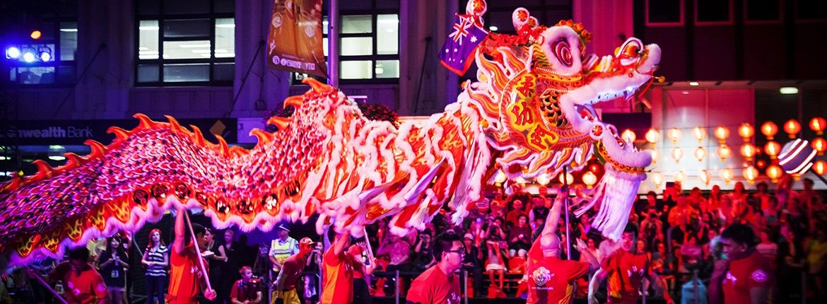 Lion Dancers down the Twilight Parade Chinese new year