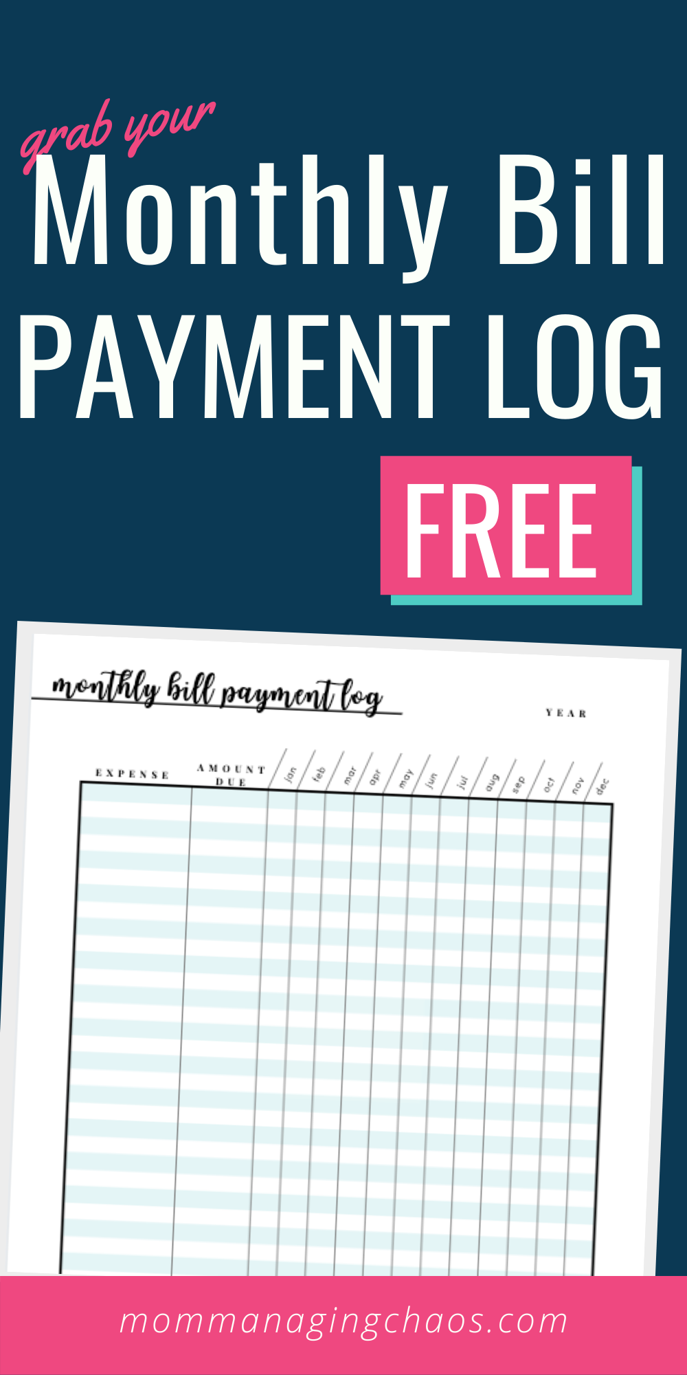 Free Printable Monthly Bill Payment Log   A Bills to Pay Checklist ...