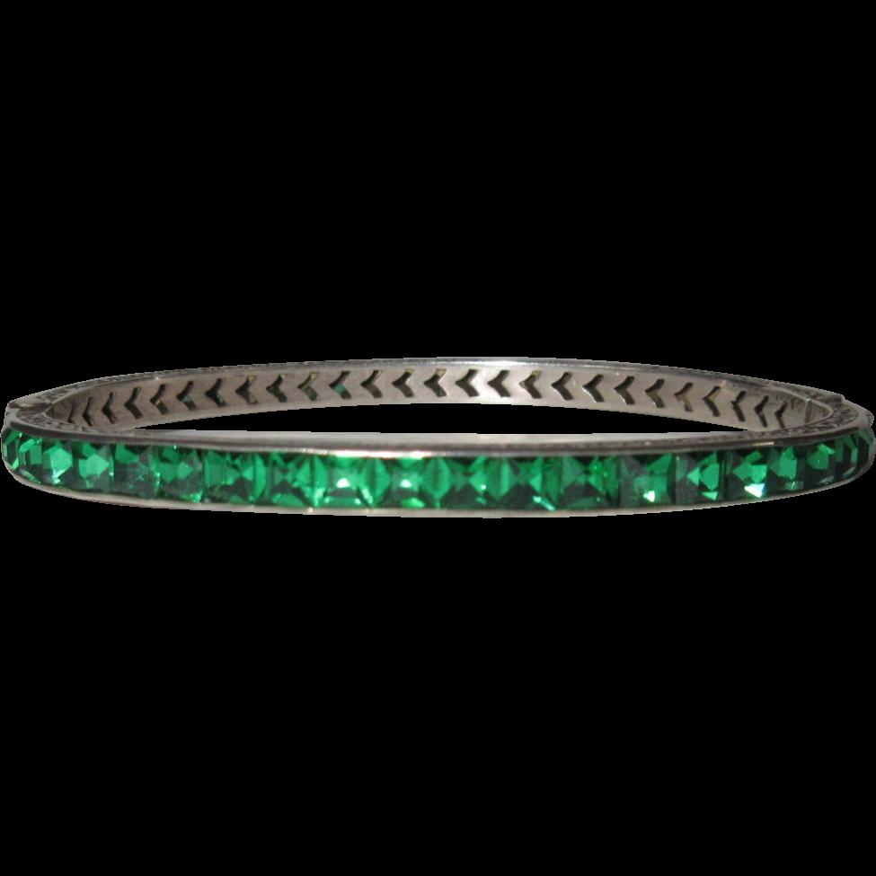 Deco Crystal Bracelet, Sterling, Channel Set Green 1920's