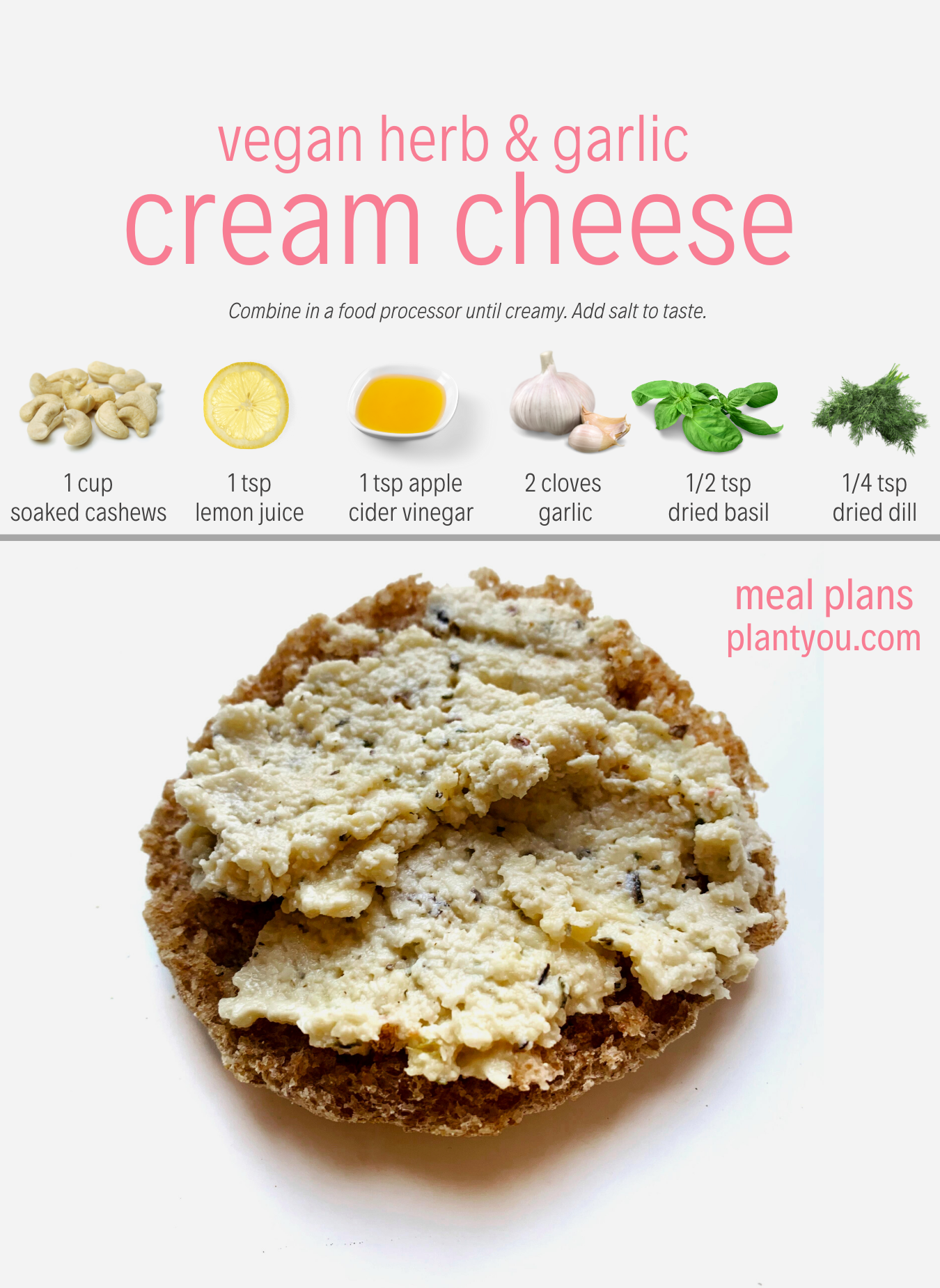 Vegan Herb Garlic Cream Cheese Vegan Cream Cheese Recipe Vegan Bagel Cream Cheese Vegan Snacks Easy Food Processor Recipes Vegan Cheese Recipes