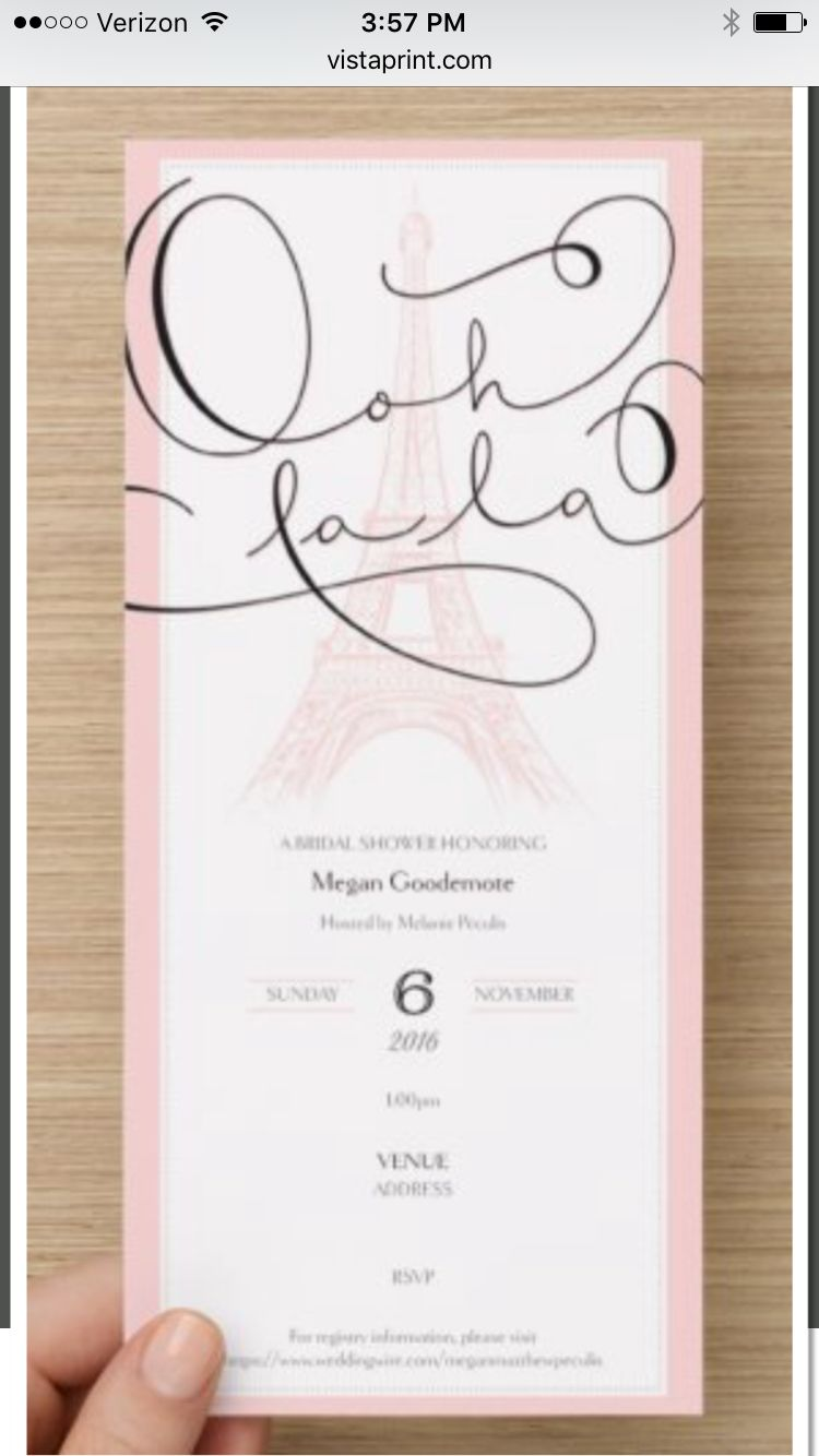Paris Themed Bridal Shower Invitation
