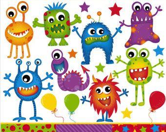 Monstre Clip Art Monster Clipart Clipart Alien Monster Party Clipart Monstres Fete D Enfants Fun Papiers Digitaux Monster Clipart Clip Art Cute Monsters