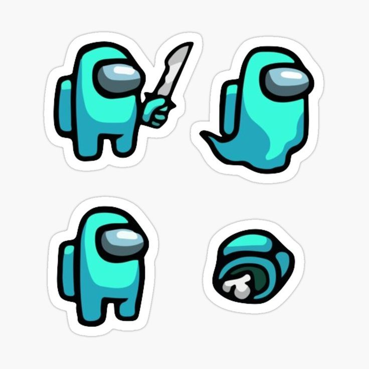 'Among Us Cyan Character Assorted Set' Sticker by