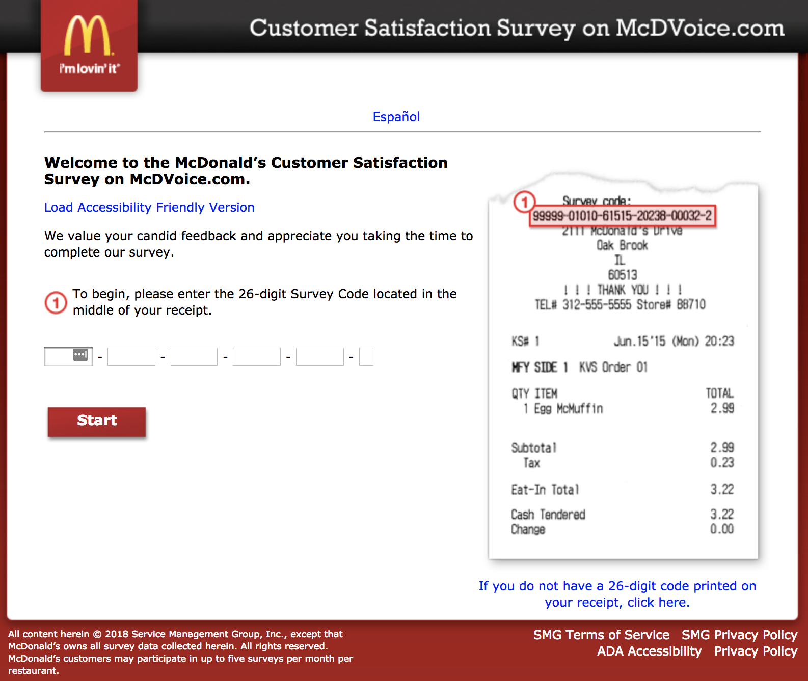 Mcdvoice Customer Survey From Mcdonald Www Mcdvoice Com Great