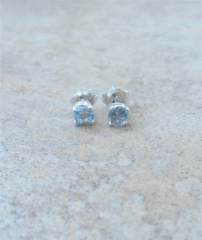 sterling white topaz and pin genuine silver earrings usa aquamarine tgw