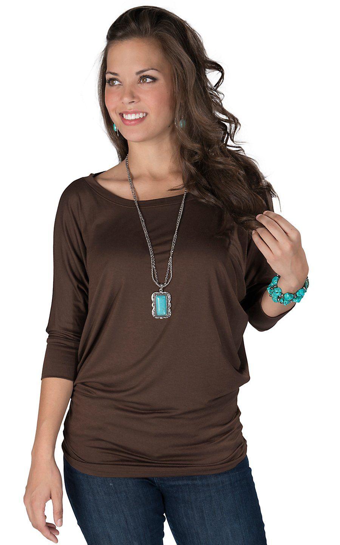 42984ec59fdce Karlie® Women s Brown 3 4 Dolman Sleeve Top