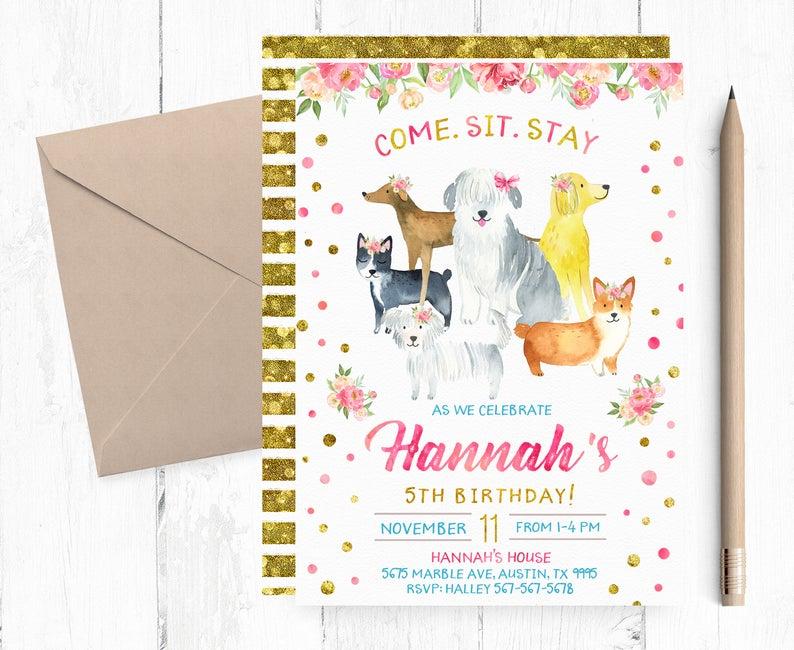 Puppy Birthday Invitation For Pet