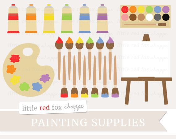Paint Supplies Clipart Painting Clip Art Paintbrush Palette