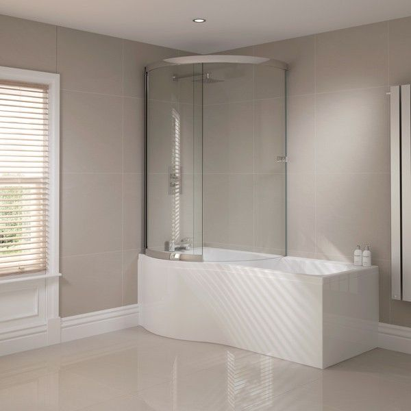 Elegant April P Shape Shower Bath With Optional Front Panel And Enclosed Bath  Screen 1700 X 700mm