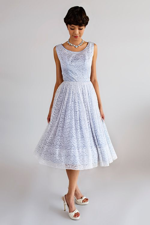 Wonderful 1950s Powder Blue Tea Length Dress