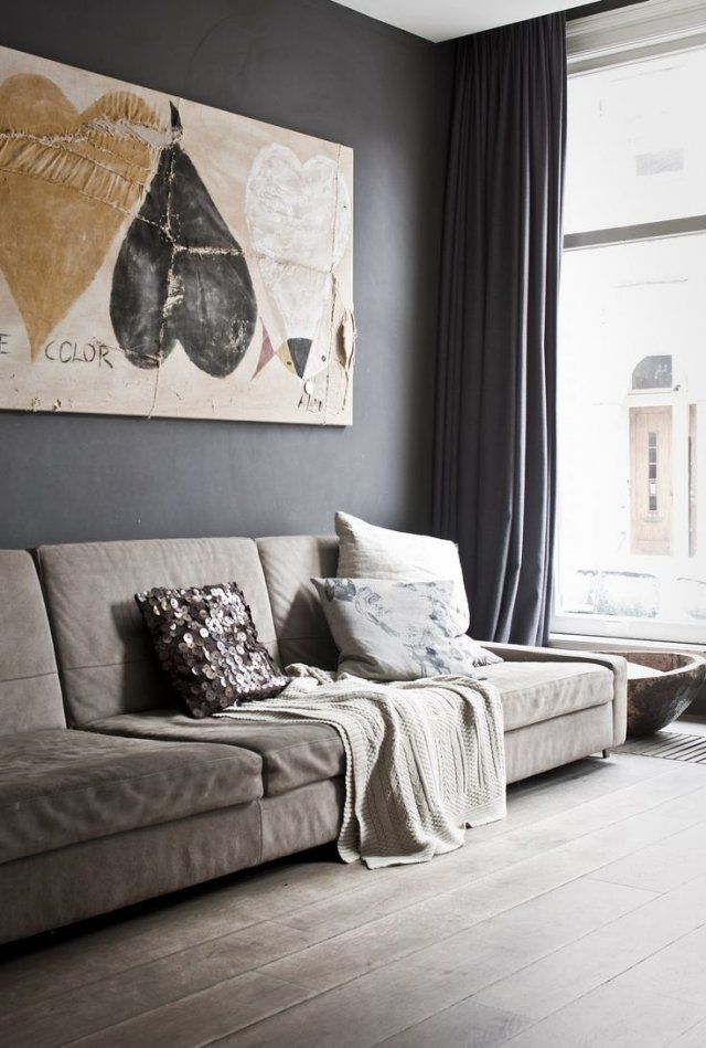Farbideen Wohnzimmer Dunkelgraue Wand Polstersofa | Wohnzimmer