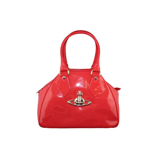 Vivienne Westwood Accessories Patent Small Orb Bag Red ($450) via Polyvore