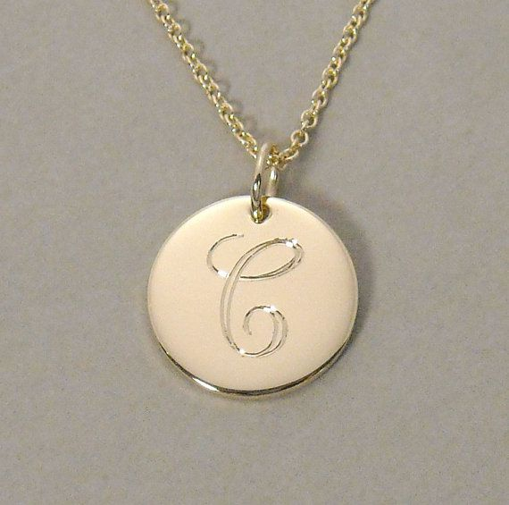 14ky gold personalized initial monogram pendant necklace engraved 1 14ky gold personalized initial monogram pendant necklace engraved 12 inch round circle disc charm aloadofball Image collections