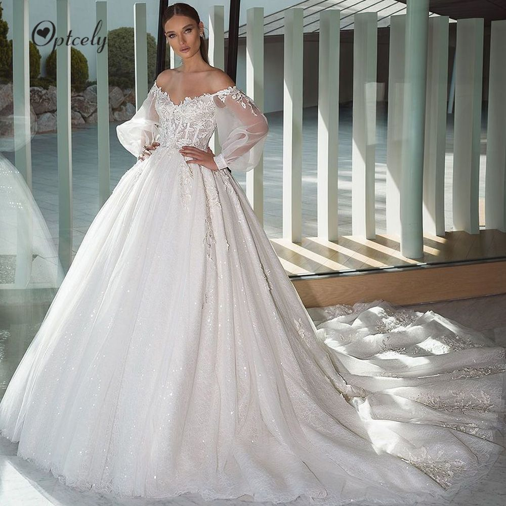 Optcely Illusion Boat Neck Lace Beach A Line Wedding Dresses 2019 Elegant Appliques Puff Sleeve Sweep T In 2020 Ball Gowns Wedding Cheap Bridal Dresses Wedding Dresses
