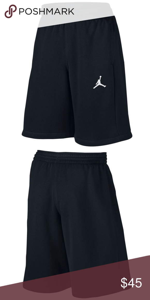 Nike AIR JORDAN FLIGHT Men's Fleece Shorts - Black Brushed French terry  fabric has a soft, warm feel Elastic waistband to secure fit Embroided  Jordan ...