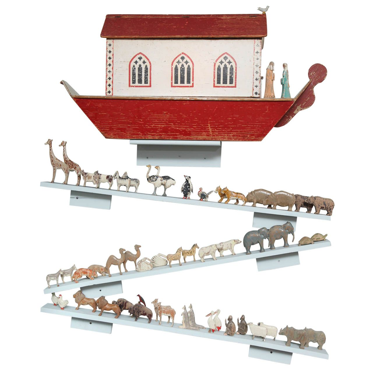 Large Turn of the Century Carved and Painted Noah's Ark | 1stdibs.com