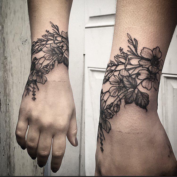 Mehndi Wrist Joint : Wild flower cuff by annelise sweetleas ig tatties