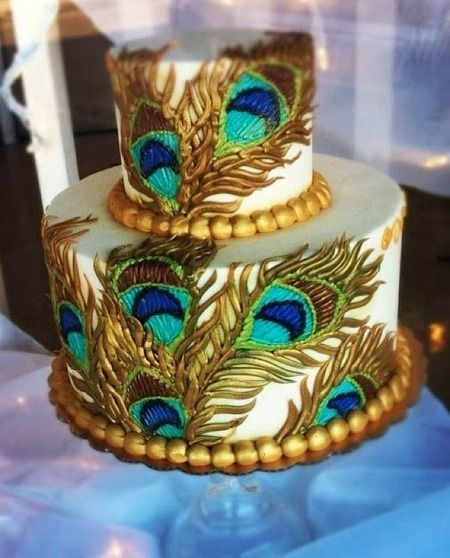 Peacock Feather Wedding Cake: This Looks Like A Peacock Cake Decorated Entirely With