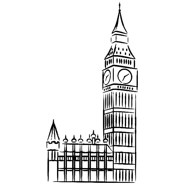 Sketch Of Big Ben Clock Tower Coloring Page Coloring Sun Big Ben Clock Big Ben Drawing Clock Tower