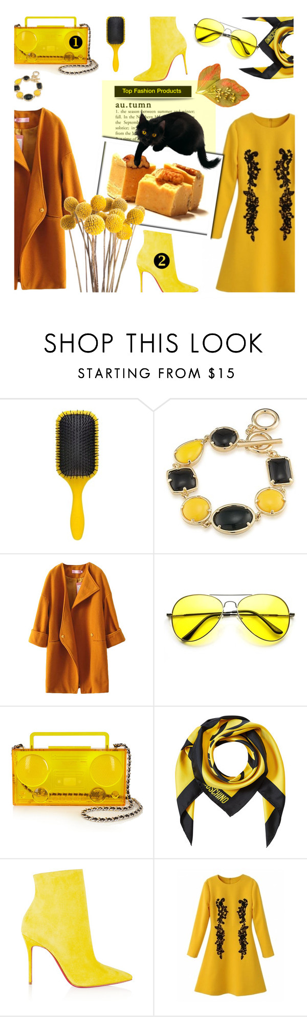 """""""🎀 #555 Autumn & Fall .."""" by wonderful-paradisaical ❤ liked on Polyvore featuring Denman, 1st & Gorgeous by Carolee, ZeroUV, Moschino and Christian Louboutin"""